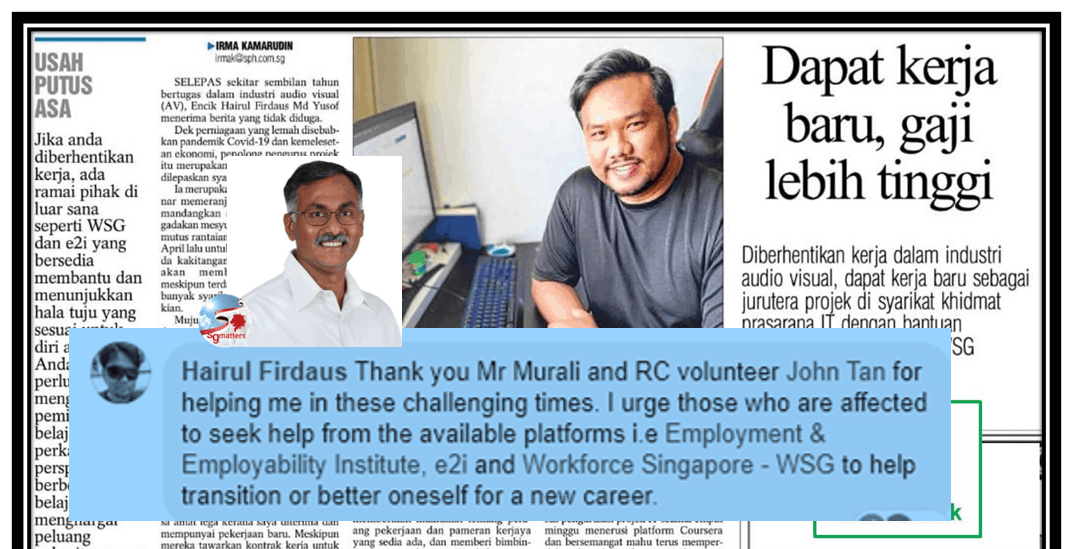 Murali Pillai, Retrenched, but Hairul did not give up and neither did MP Murali Pillai