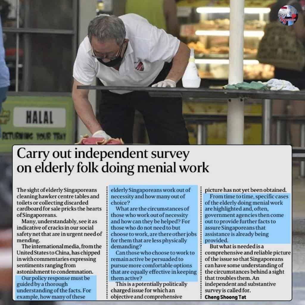 menial work, Carry out independent survey on elderly folk doing menial work