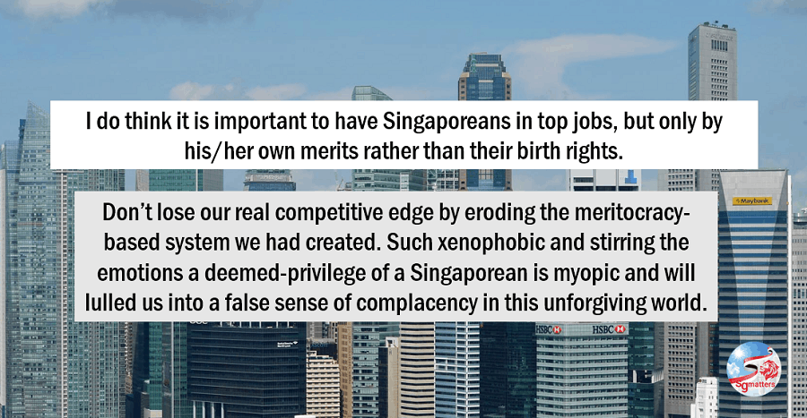 Singaporean - Jobs by meritocracy not birth right job competition