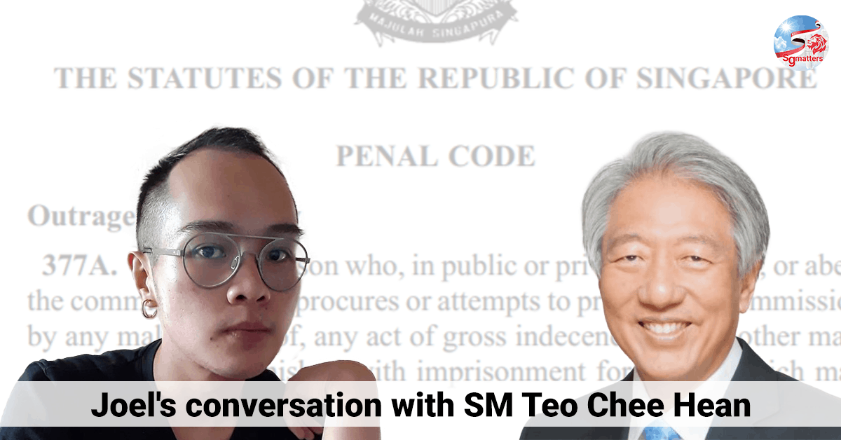 minister, Joel's conversation with SM Teo Chee Hean