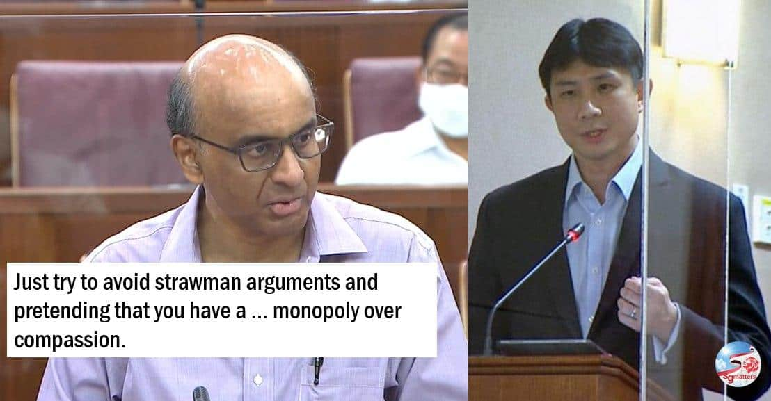 monopoly on compassion, Tharman to Jamus: avoid strawman arguments and don't assume you have a monopoly in compassion