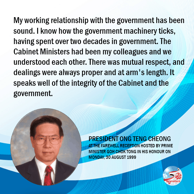 President Ong Teng Cheong, President Ong Teng Cheong's last words in farewell speech
