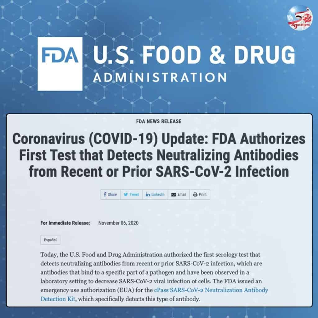 cPass, US FDA authorises use of serology test kit developed by Singapore