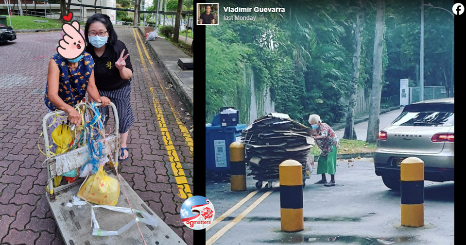 elderly woman collects cardboard to pass time and for exercise