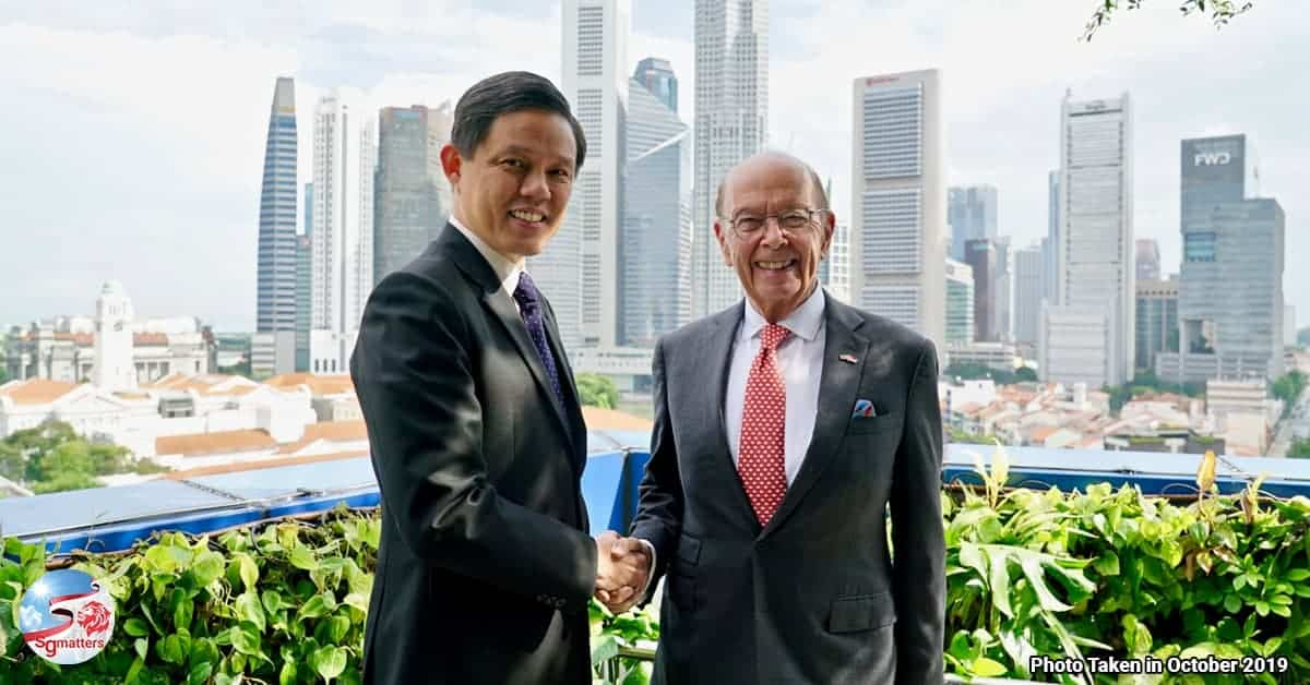 MOU Memorandum of Understanding MOU Chan Chun Sing Wilbur Ross Ministry for Trade and Industry MTI