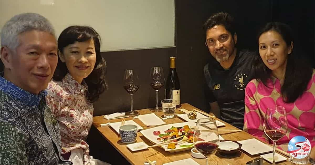 Sudhir Vadaketh and wife having dinner with Lee Hsien Yang and Lee Suet Fern