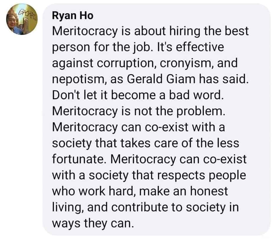 What is meritocracy, If not meritocracy, then what, Mr Gerald Giam?