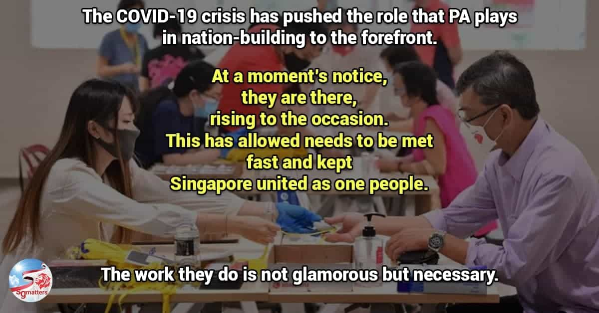 people's association singapore, There's nothing political in the work done by PA. So stop politicising it!