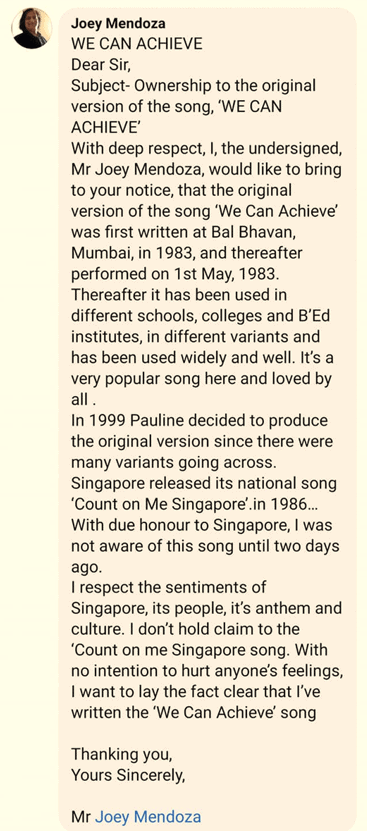 we can achieve, Pauline India apologises, says not aware 'We can achieve' is Singapore's national song