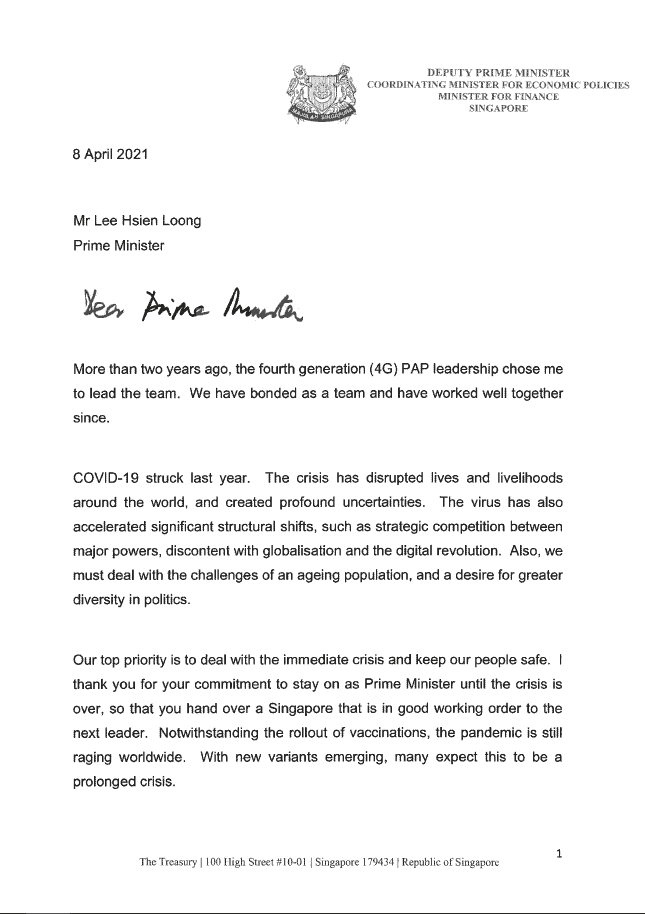 heng swee keat, Letter exchange between PM Lee and DPM Heng who steps aside as 4G leader