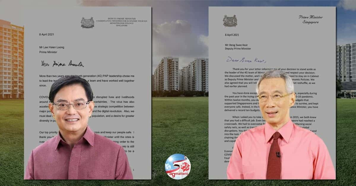 Letter exchange between PM Lee Hsien Loong & DPM Heng Swee Keat