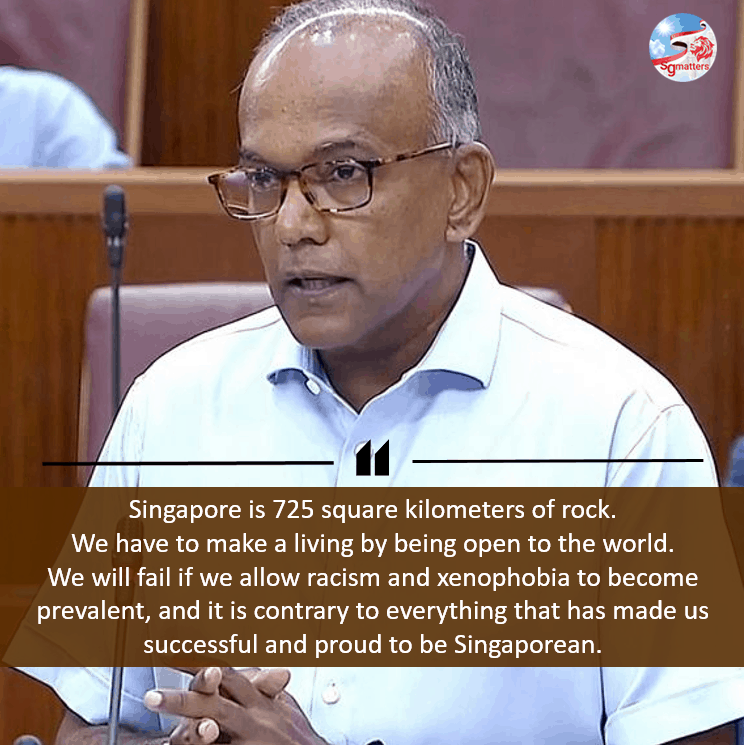 racism in singapore, Racism and xenophobia will be normalised if we are not careful: Shanmugam
