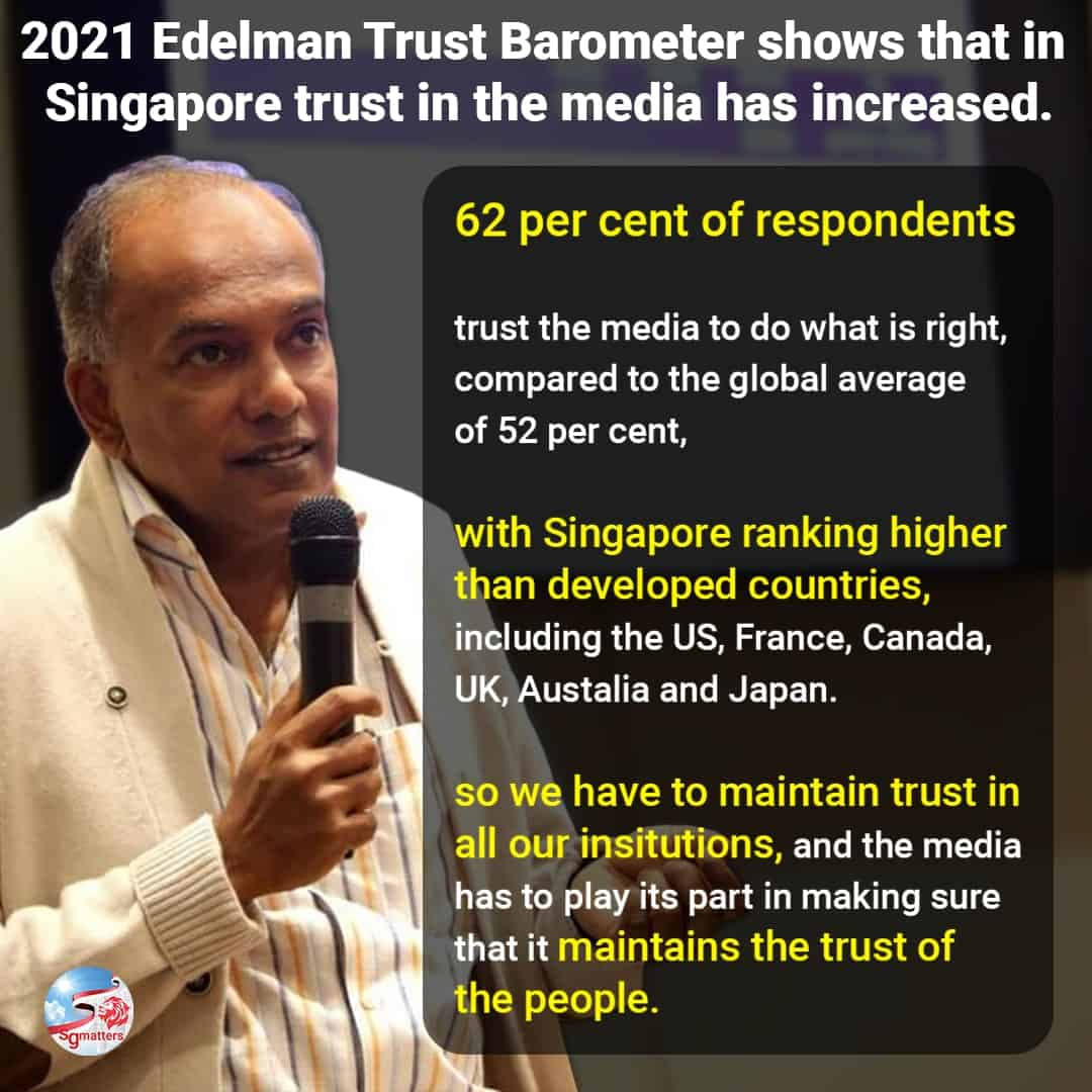 trust in media, Extremely important to maintain trust in the media: Shanmugam