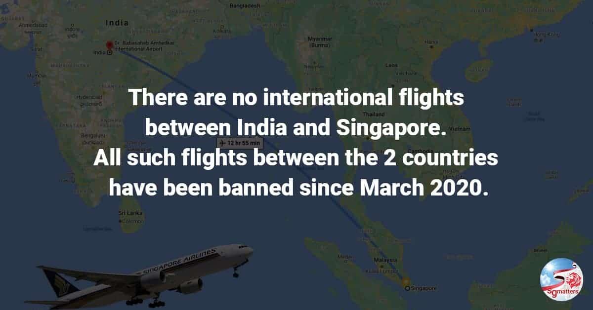 singapore to india flights, No international flights to and from Singapore and India since March 2020