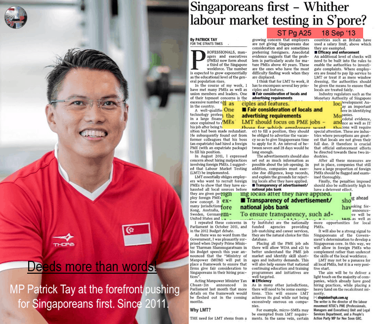 Patrick Tay, Labour MP Patrick Tay pushes for more to be done to strengthen the Singaporean Core