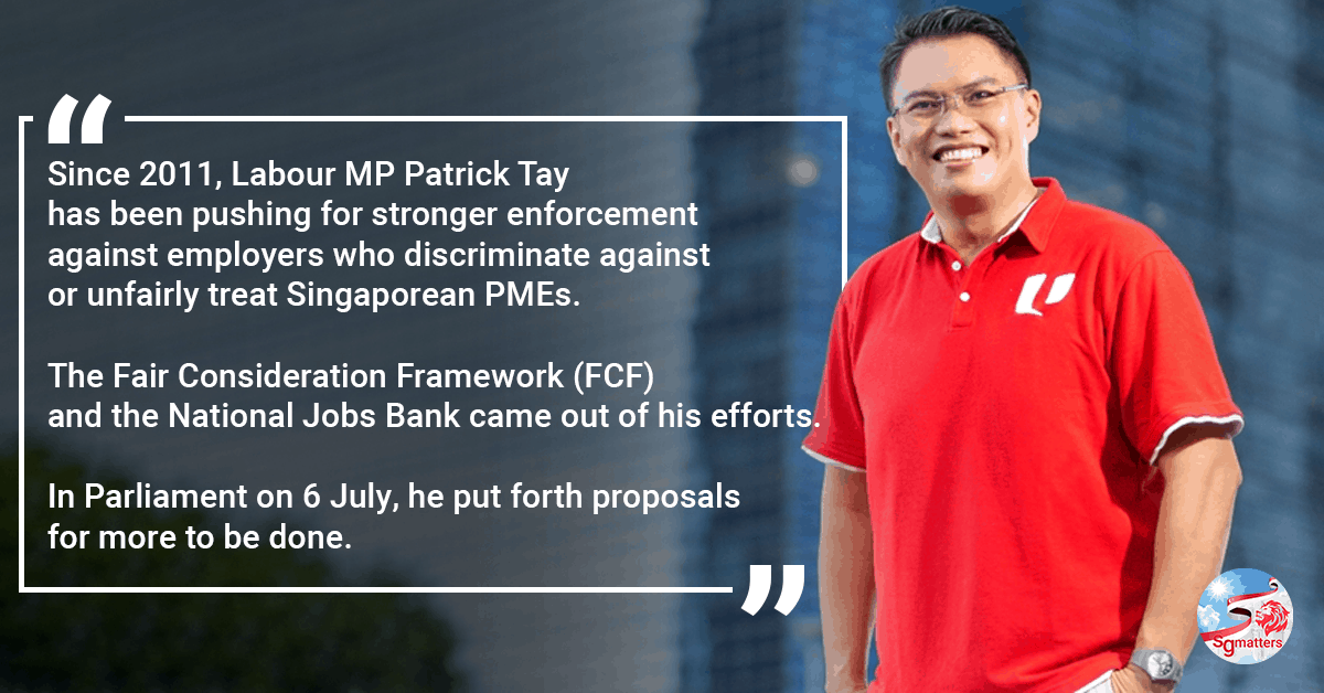 Labour MP Patrick Tay pushes for more to be done to strengthen the Singaporean Core