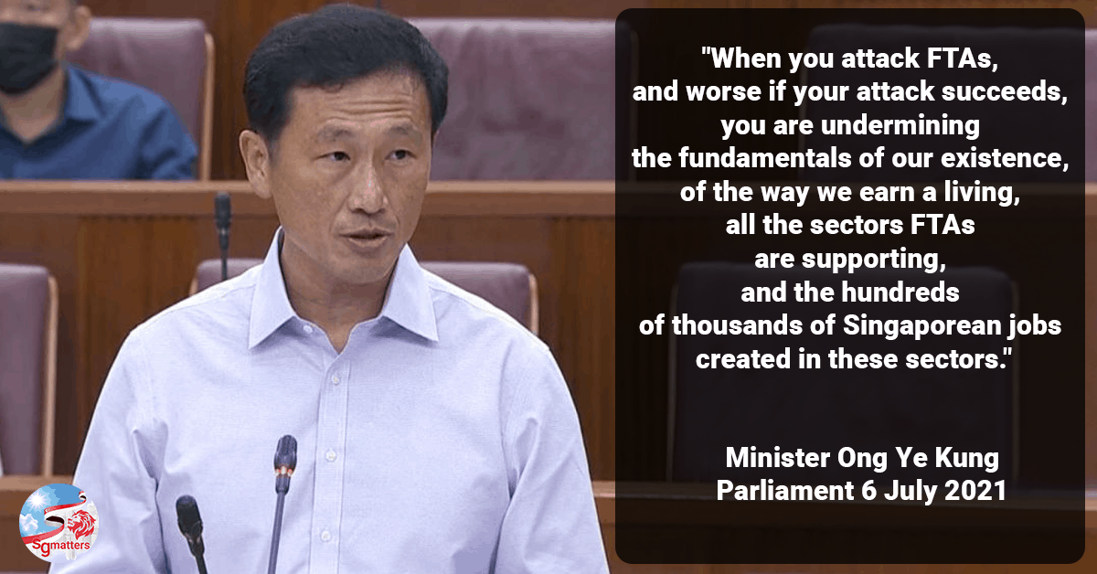 Ong Ye Kung speaks on the FTA strategy and the falsehoods surrounding CECA