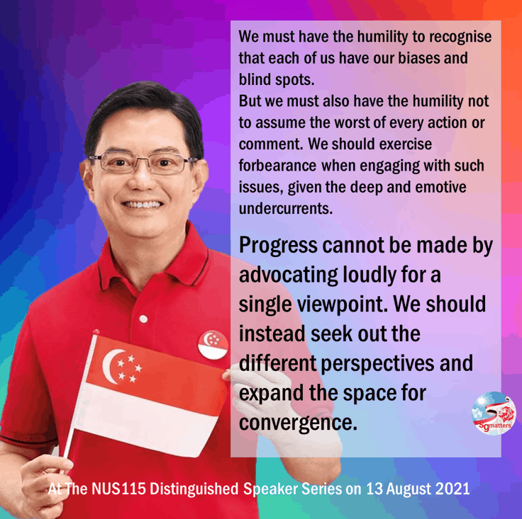 Heng Swee Keat, Progress cannot be made by advocating loudly for a single viewpoint: Heng Swee Keat