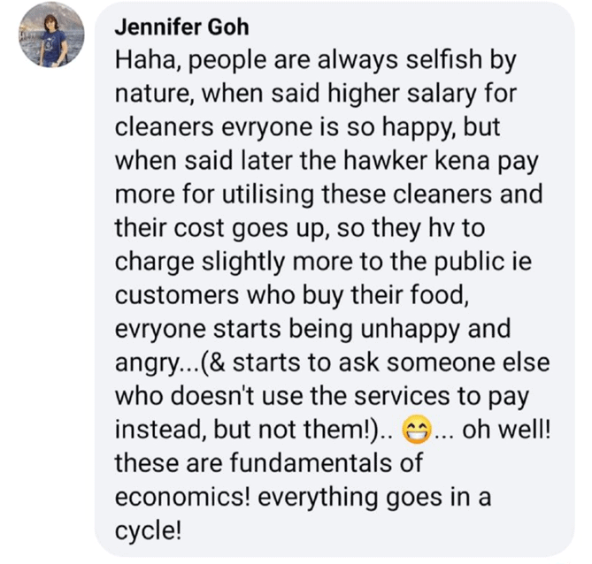 higher costs, Singaporeans finally realise that higher wages for others means higher costs for them