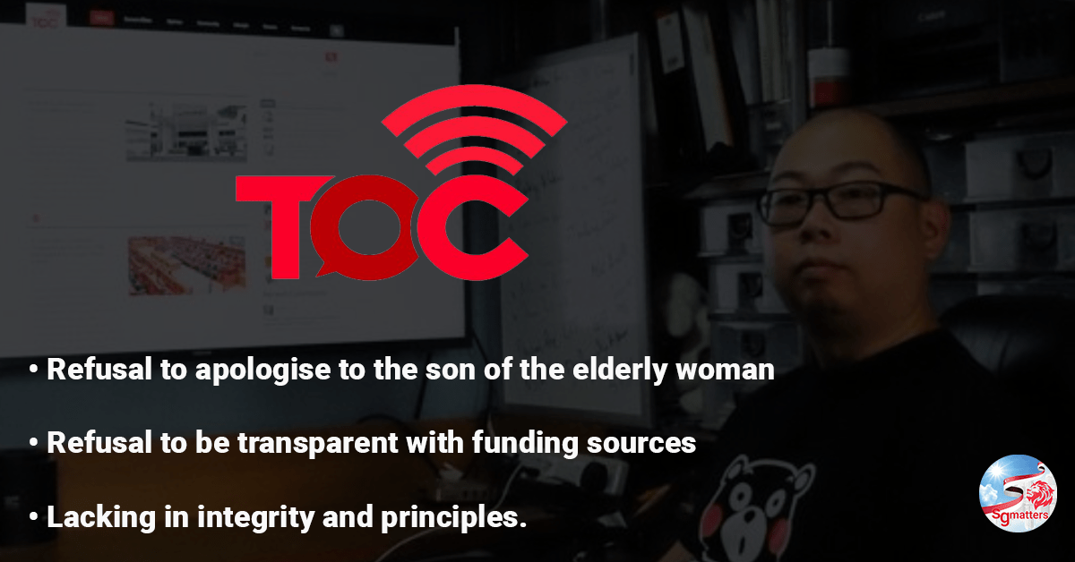 Why so shy, TOC? Why the refusal to be transparent with funding sources? The Online Citizen